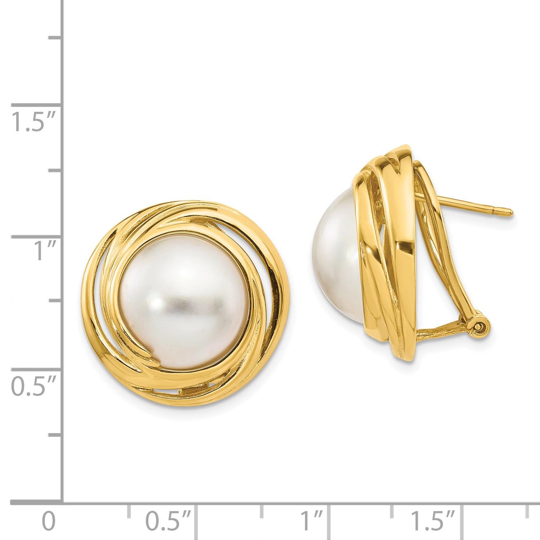 3992b4d4907a 14k amarillo oro 12 mm Mabe cultivada perlas Omega trasera pendientes