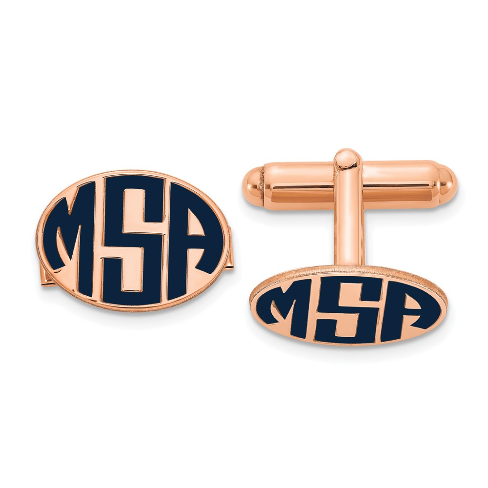 Rose Plated Sterling Silver  Enameled Letters Oval Monogram CufflinksXNA622RP
