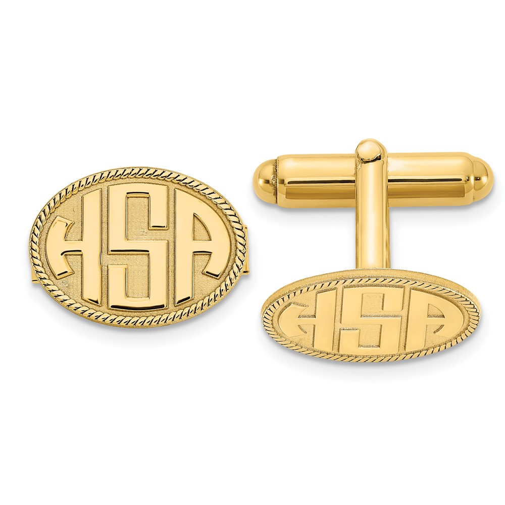 Gold Plated/SS Raised Letters Oval Border Monogram CufflinksXNA623GP