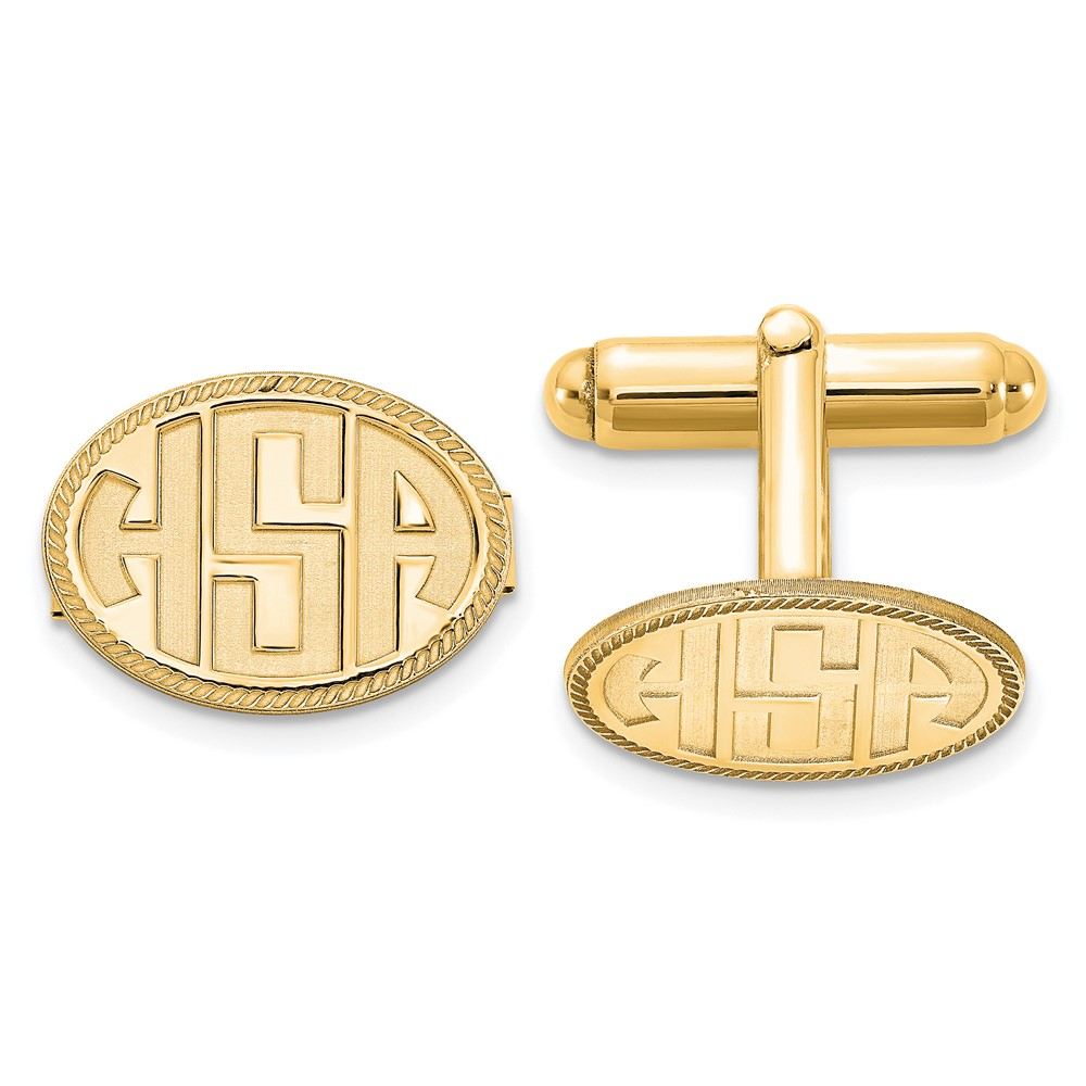 Gold Plated/SS Recessed Letters Oval Border Monogram CufflinksXNA624GP