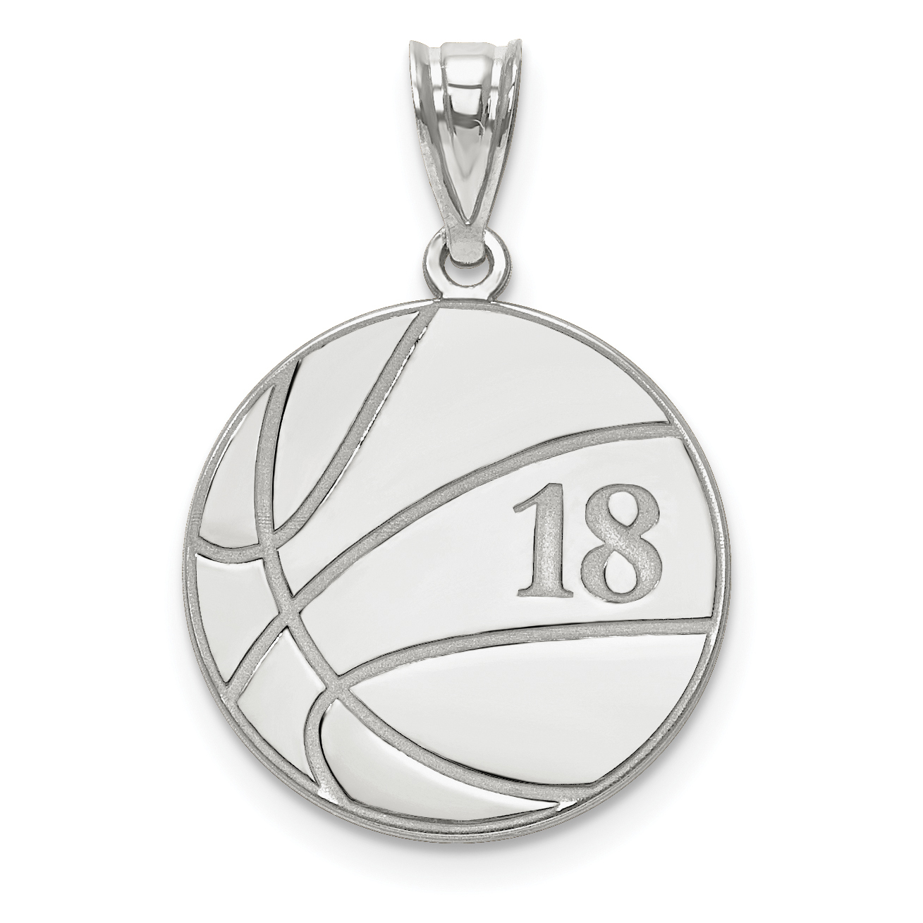 Rnd Polish Front//Back Disc Pendant Charm 19mm x 26mm Jewel Tie Sterling Silver Rhod-plated Eng