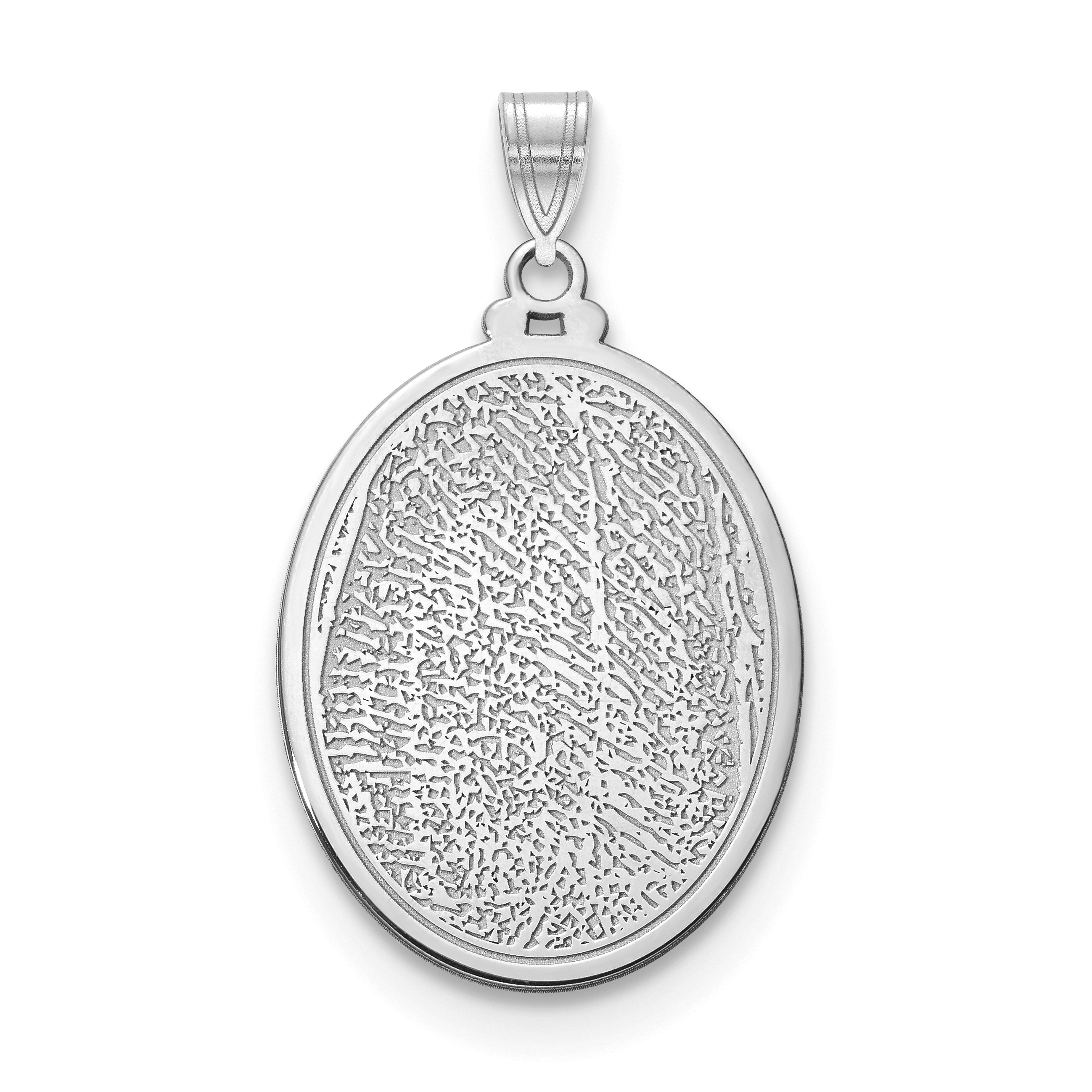 Rnd Polish Front//Satin Back Disc Pendant Charm 16mm x 23mm Jewel Tie Sterling Silver Rhod-plated Eng