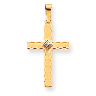 14k AA Diamond Cross Pendant
