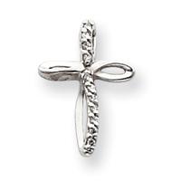 14k White Gold VS Diamond cross pendant