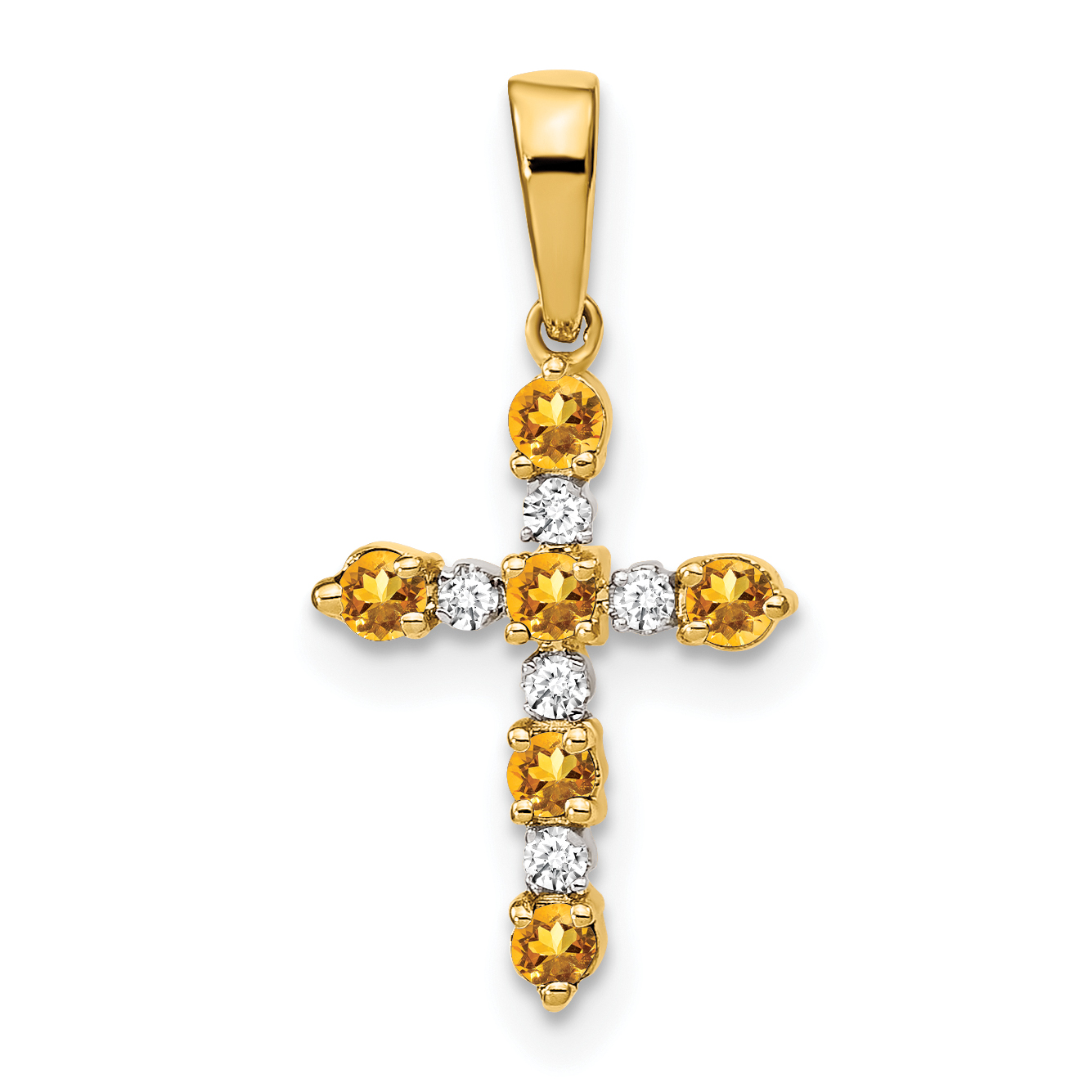 14k citrine diamond cross pendant aloadofball Gallery