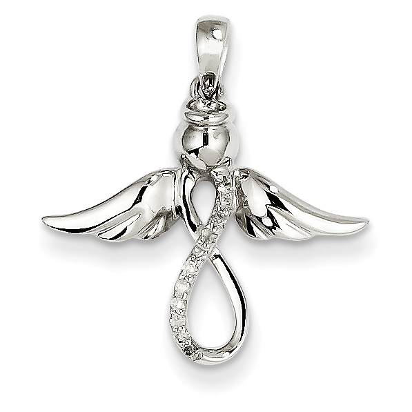 14k white gold diamond angel pendant aloadofball Gallery