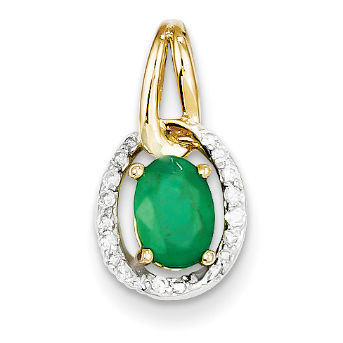 14k diamond emerald pendant aloadofball Choice Image