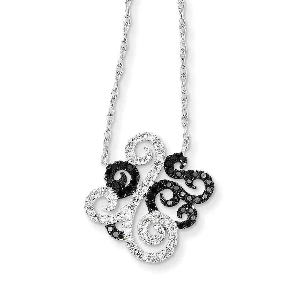 14k White Gold w/ Black and White Diamond Fancy Pendant