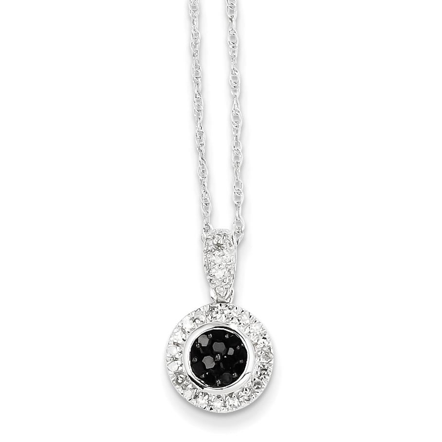 14k white gold w black and white diamond circle pendant aloadofball Choice Image