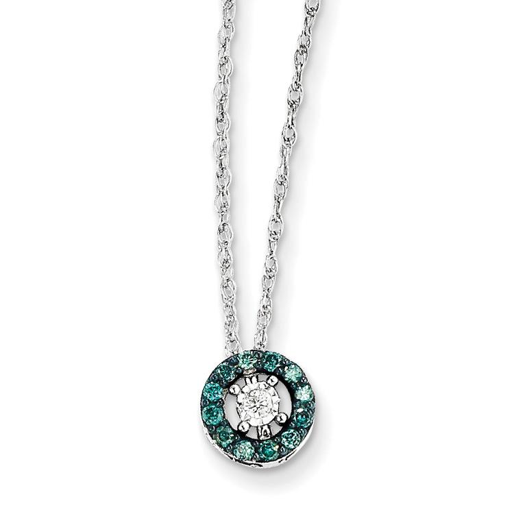 14k White Gold w/ Blue and White Diamond Circle Necklace