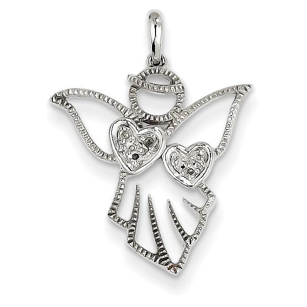 14k white gold diamond angel pendant aloadofball Image collections