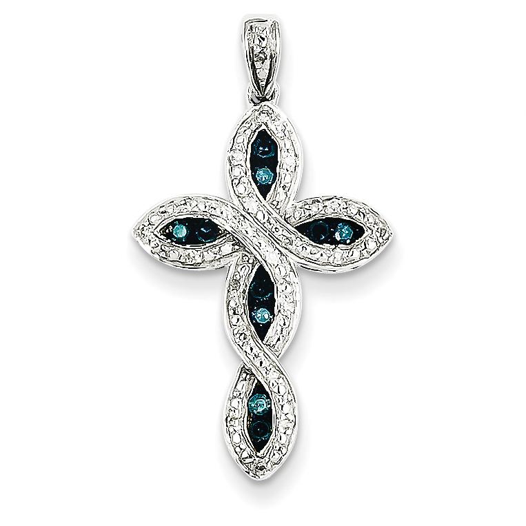 White gold white blue diamond cross pendant 14k white gold white blue diamond cross pendant mozeypictures Choice Image