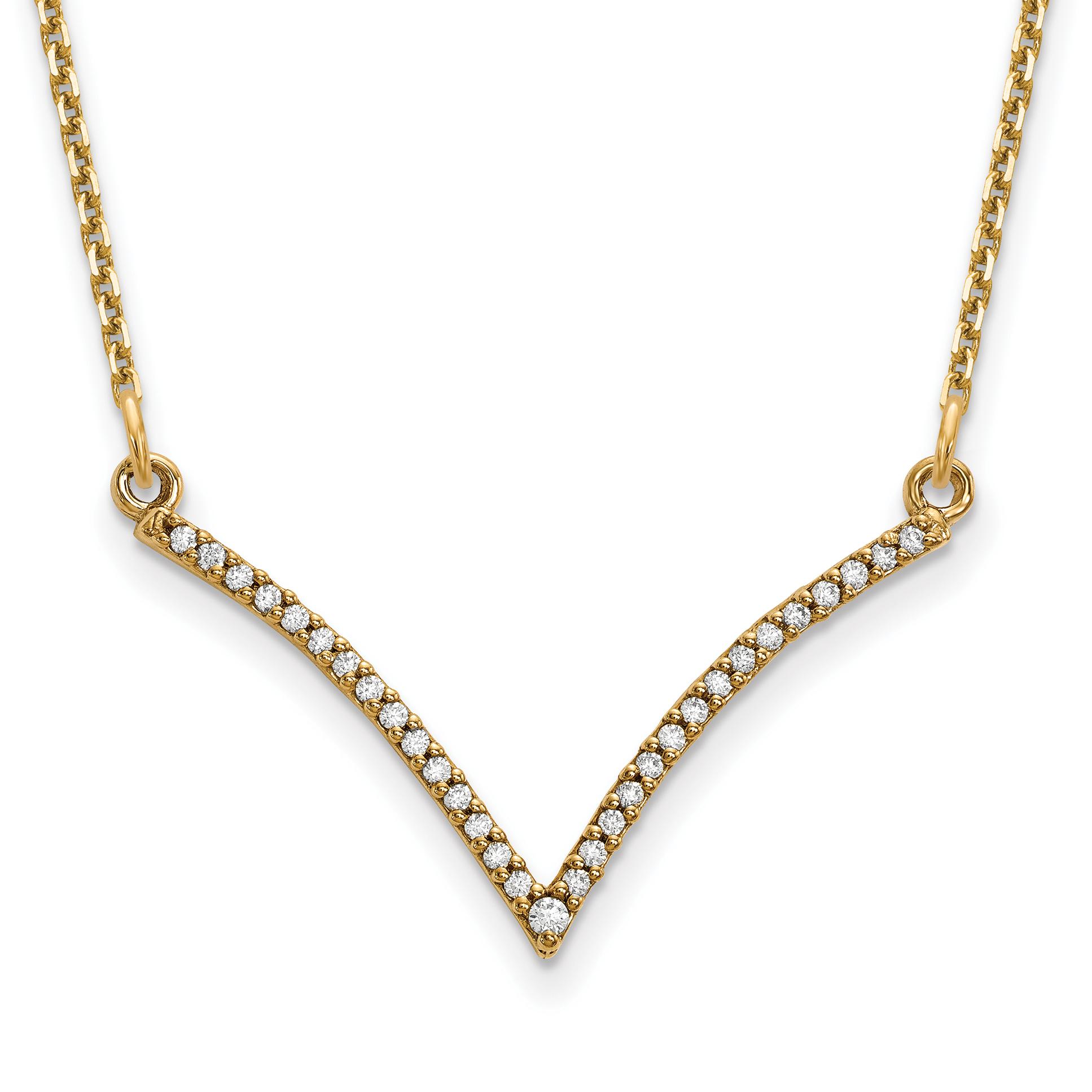 14ky Diamond V Necklace