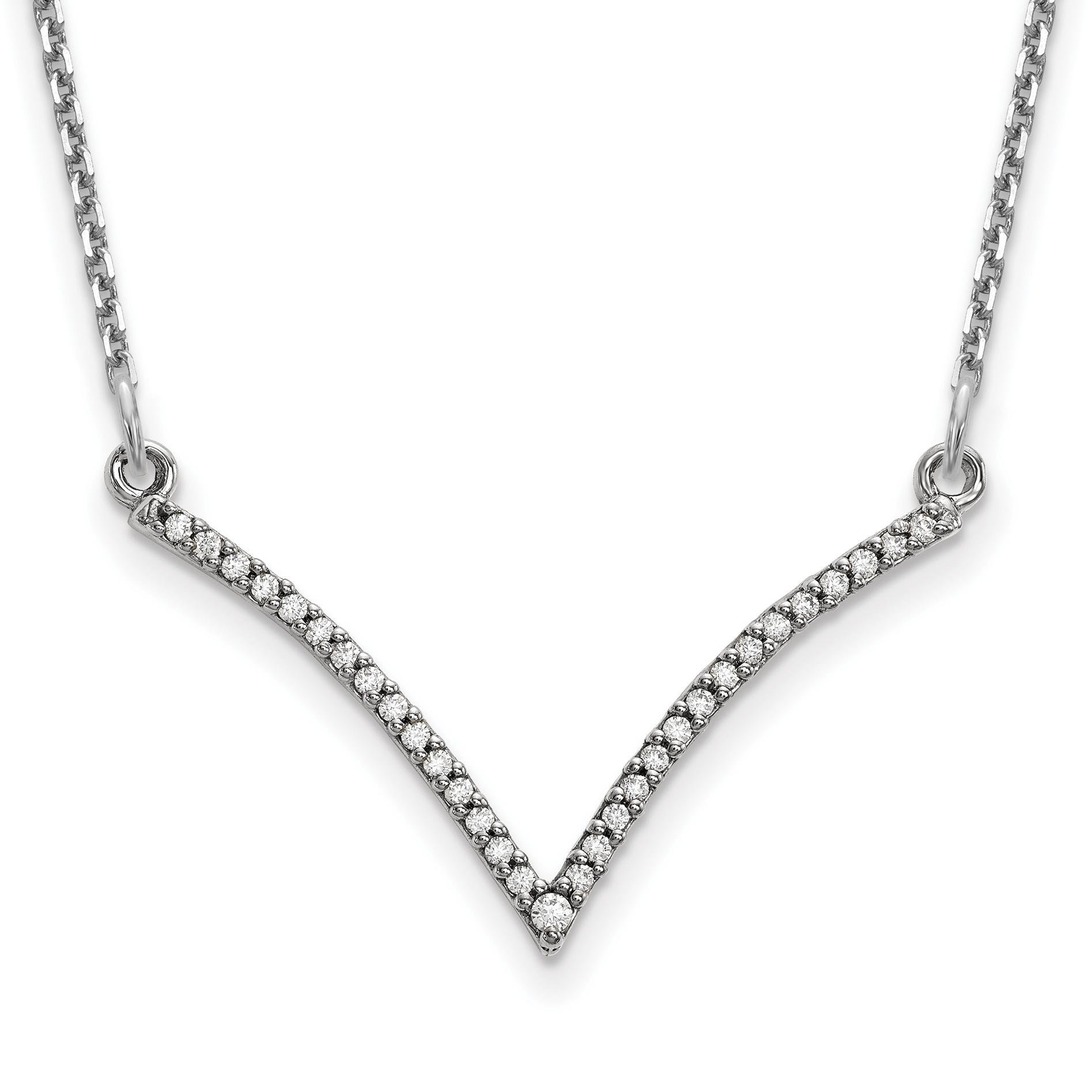 14k White Gold Diamond V Necklace