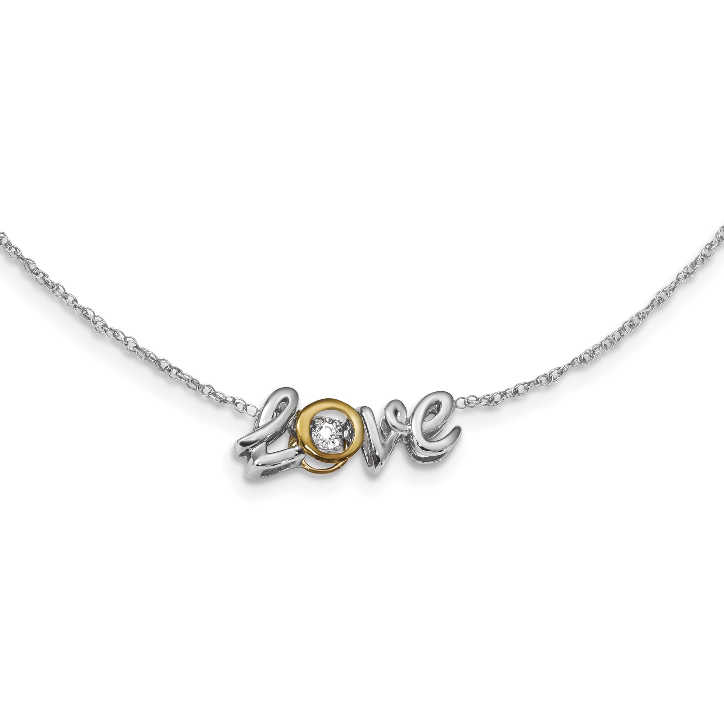 14k White/Yellow Gold Love Vibrant Diamond 18in Necklace