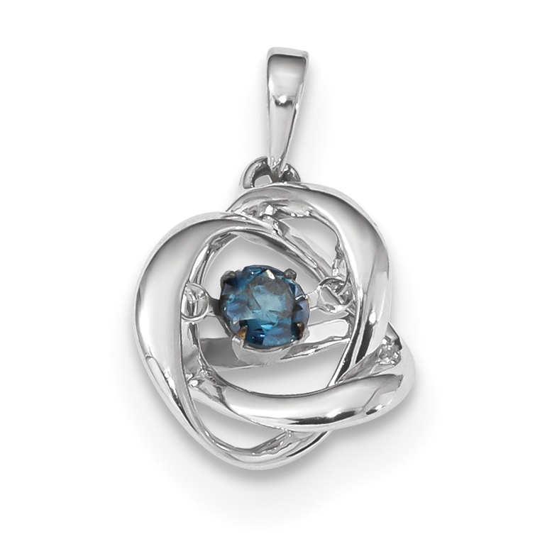 9b9b42a7b 14k White Gold Vibrant Blue Diamond Pendant