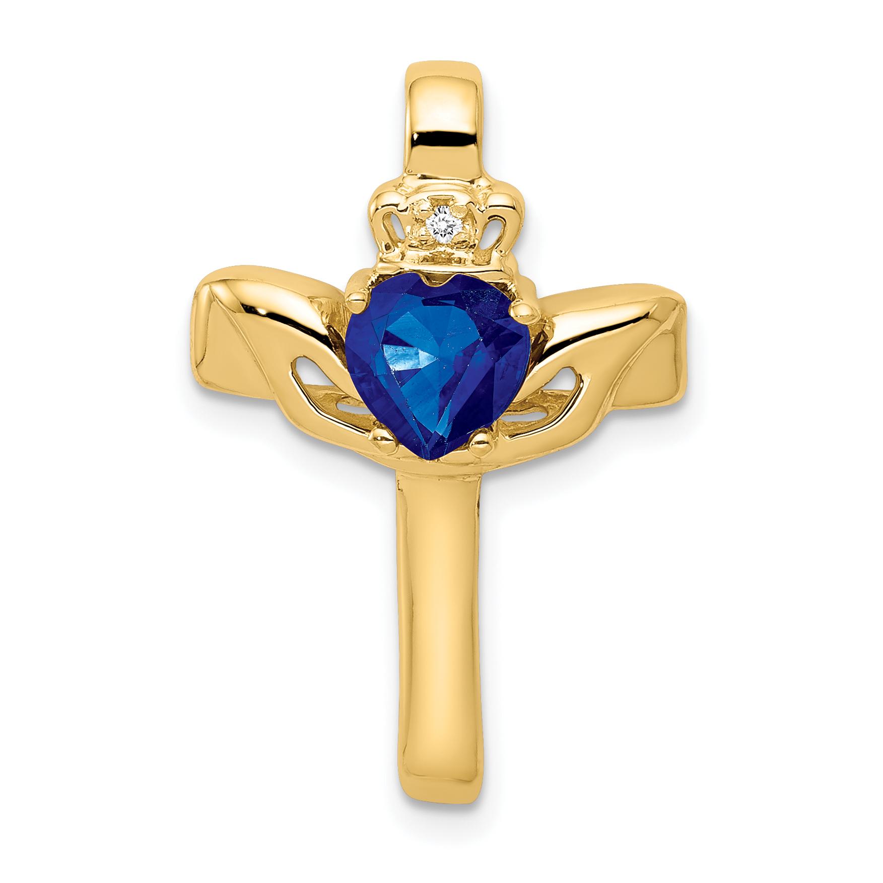 14k 6mm Heart Sapphire A Diamond cross pendant