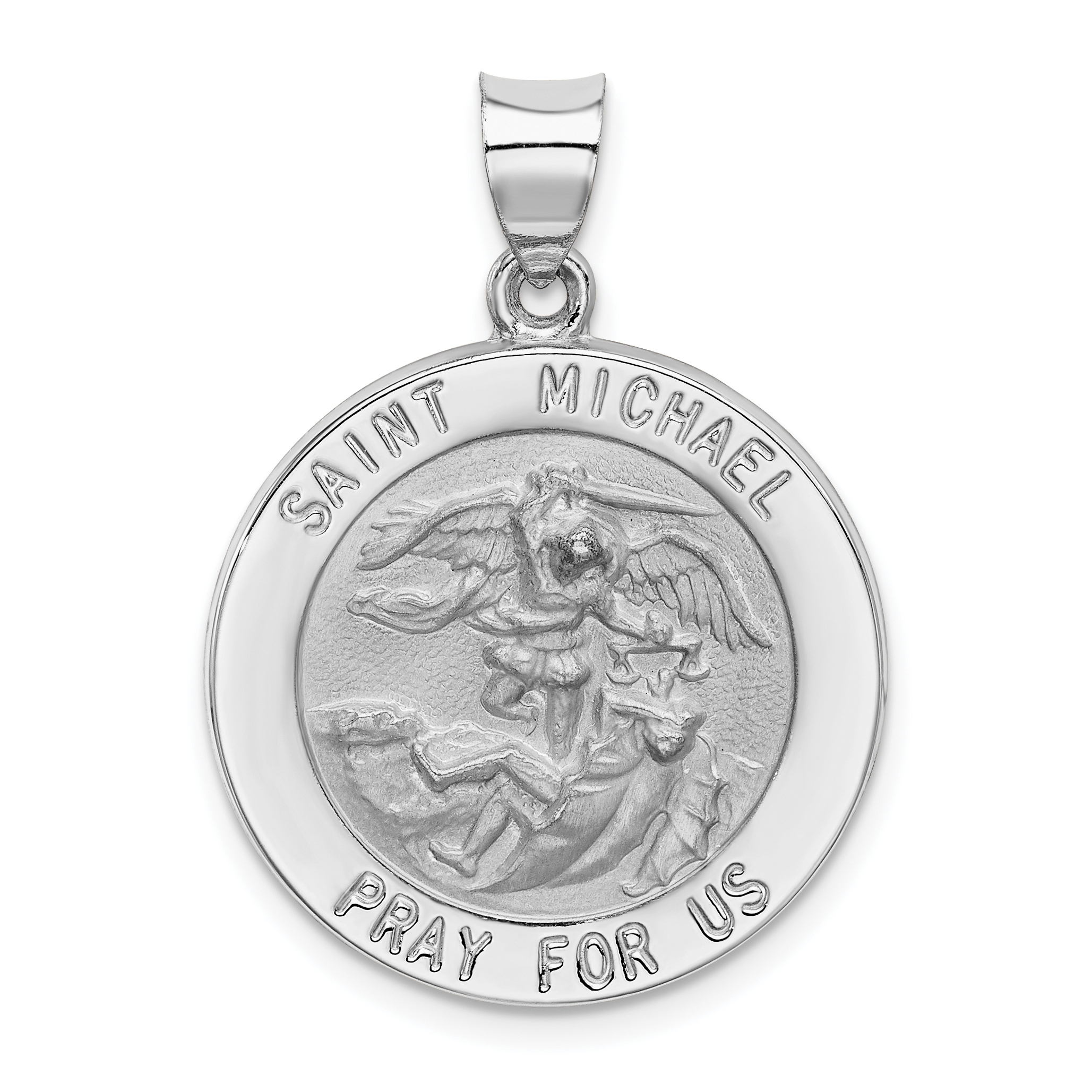 White gold polished and satin st michael medal pendant quick view aloadofball Gallery