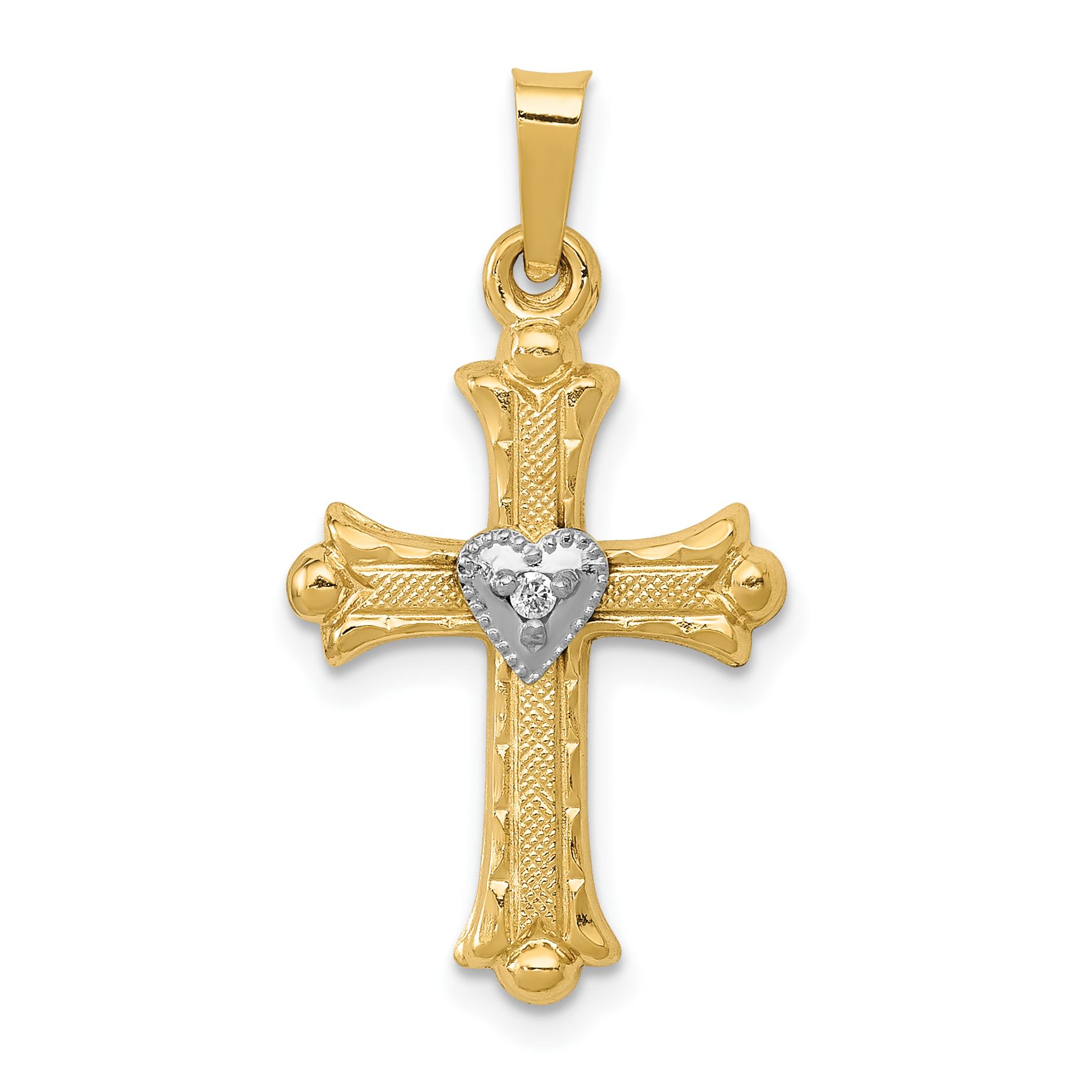 14K Diamond, Textured, Brushed & Polished Fleur de lis Cross Pendant