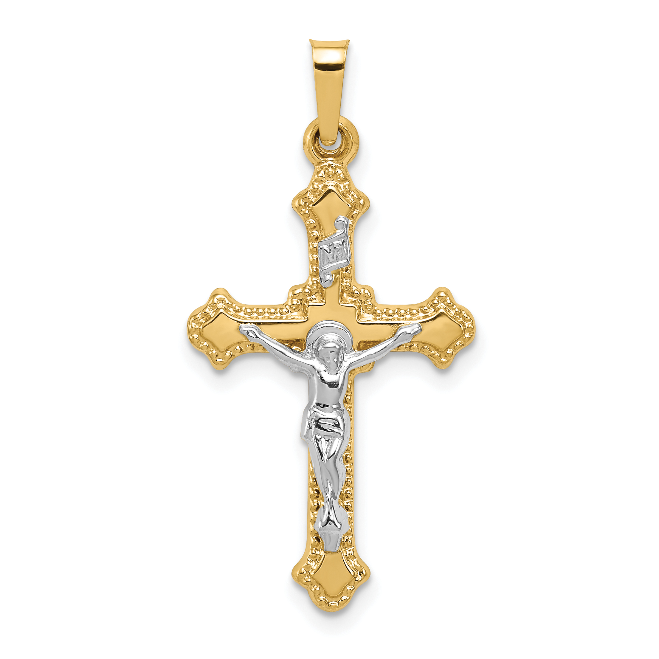 jewellers pendant in a gold yellow crucifix grahams image religious jewellery