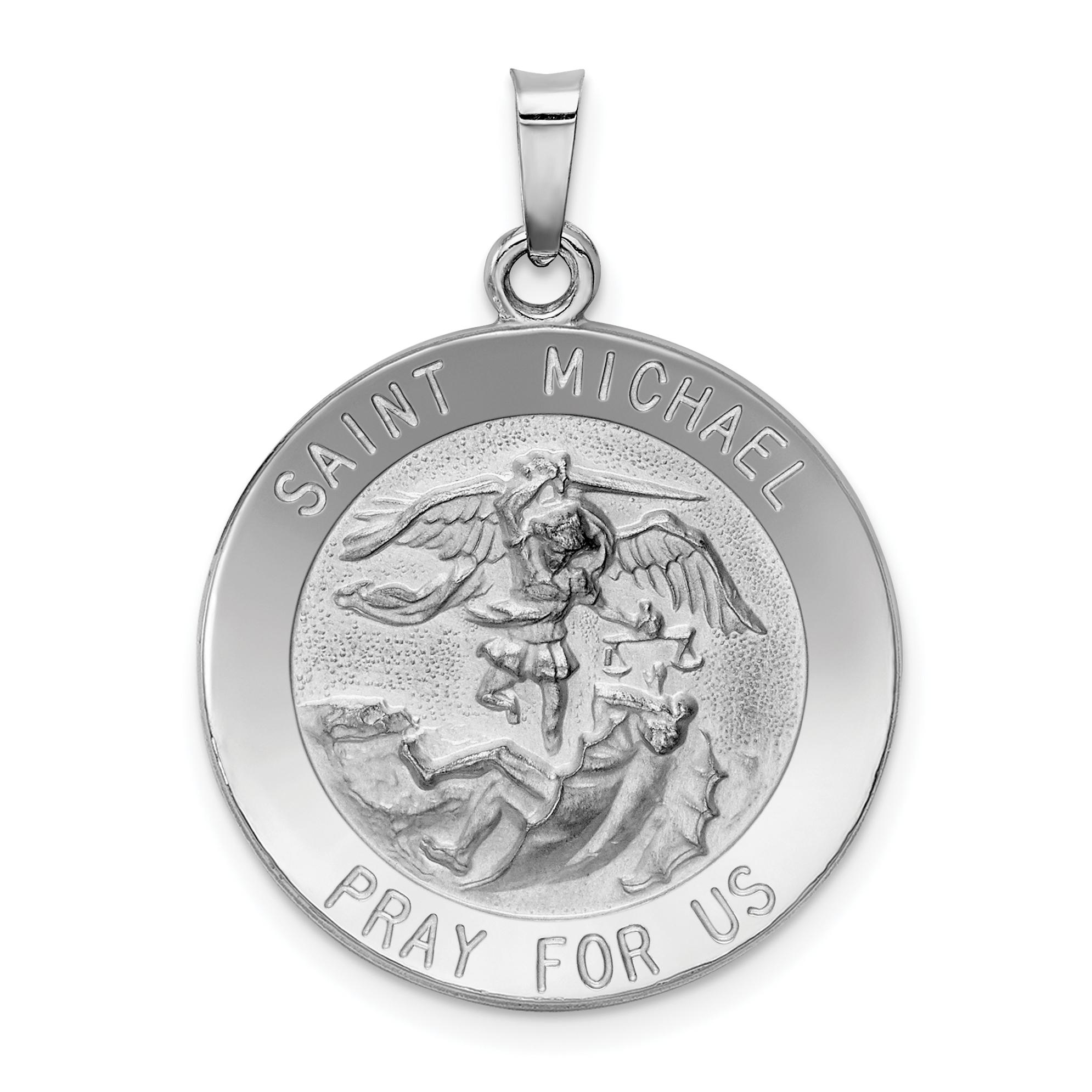 14k white gold saint michael medal pendant aloadofball Choice Image