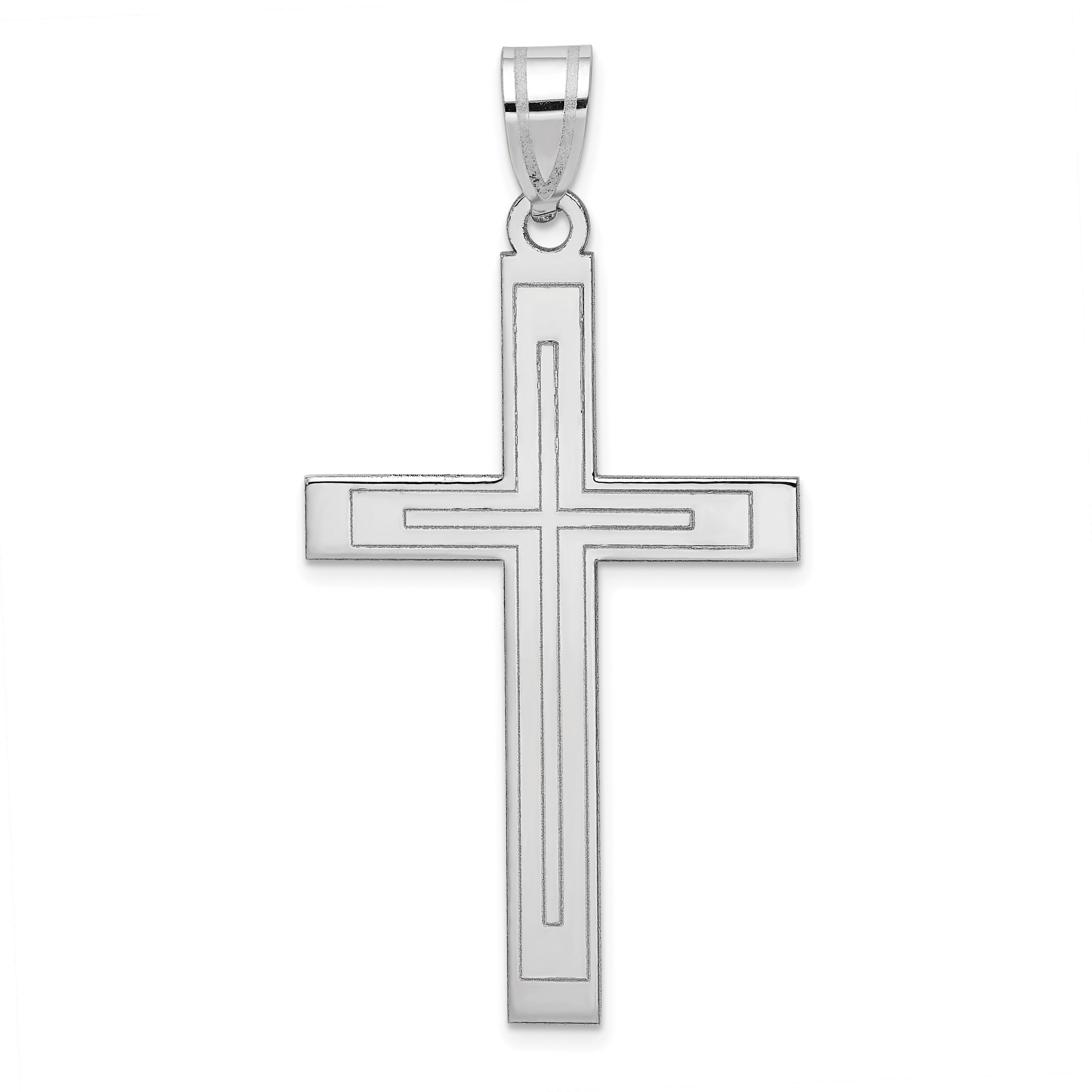112017ffe385 14k White Gold Cross Pendant