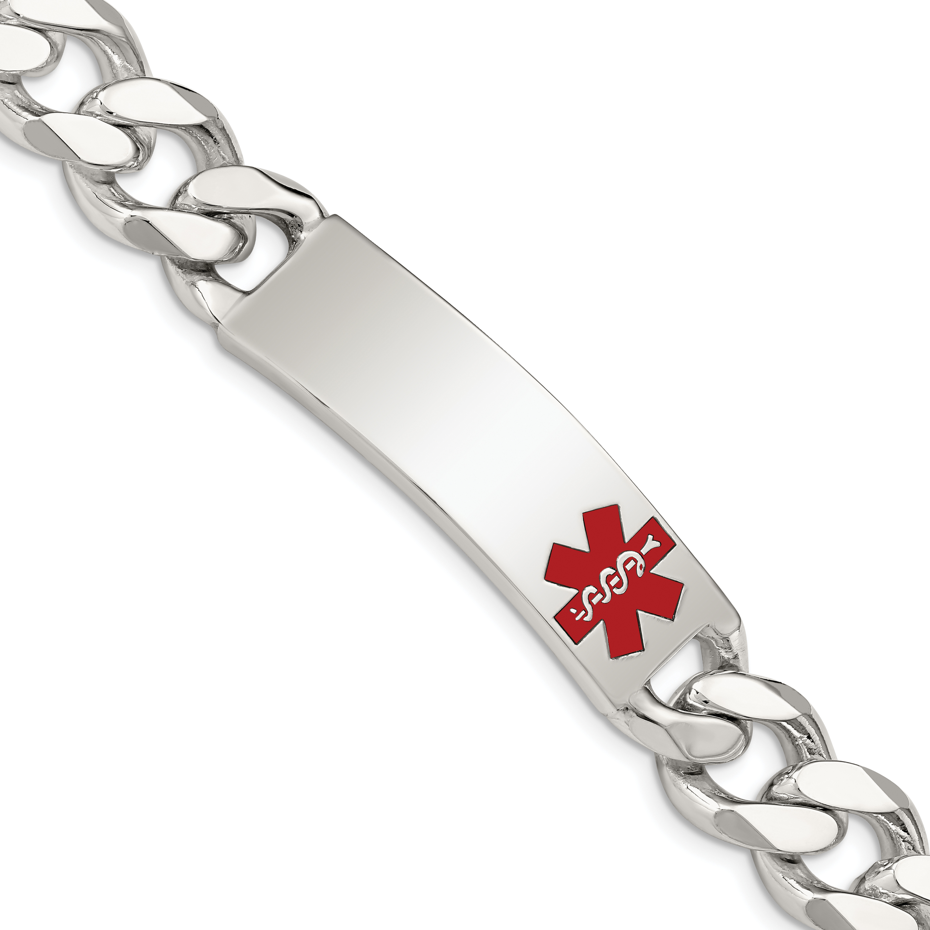 Sterling Silver Polished Medical Anchor Link Id Bracelet Xsm174 Jewelry & Watches