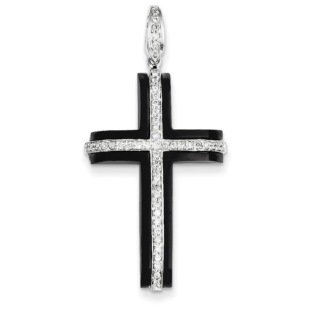 14k white gold diamond onyx cross pendant weight 205 length 14k white gold diamond onyx cross pendant weight 205 length 43 width 20 aloadofball Choice Image