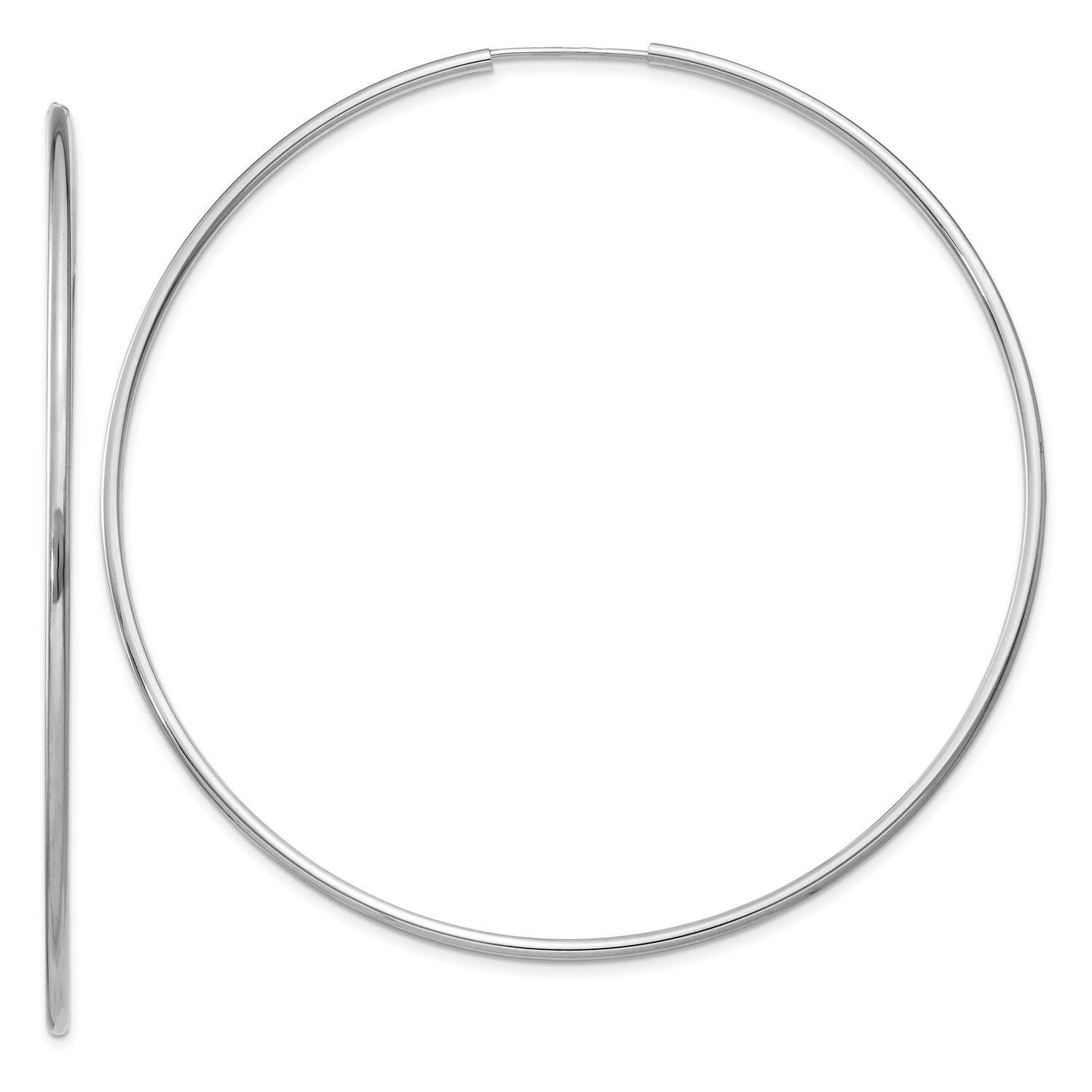 eefe0cc93c89e Endless 1.5mm gold White 14k Hoop Polished Diameter. 63mm Earrings ...