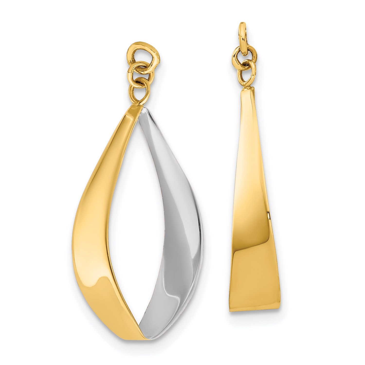 Image Is Loading 14k Yellow Gold Rhodium Reversible Dangle Earring Jackets