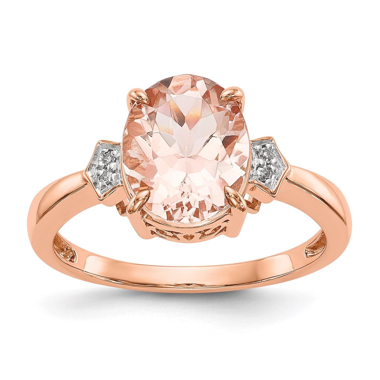 b09663081 14k Rose Gold Diamond and Morganite Ring. Carat Wt- 0.02ct. Gem Wt ...