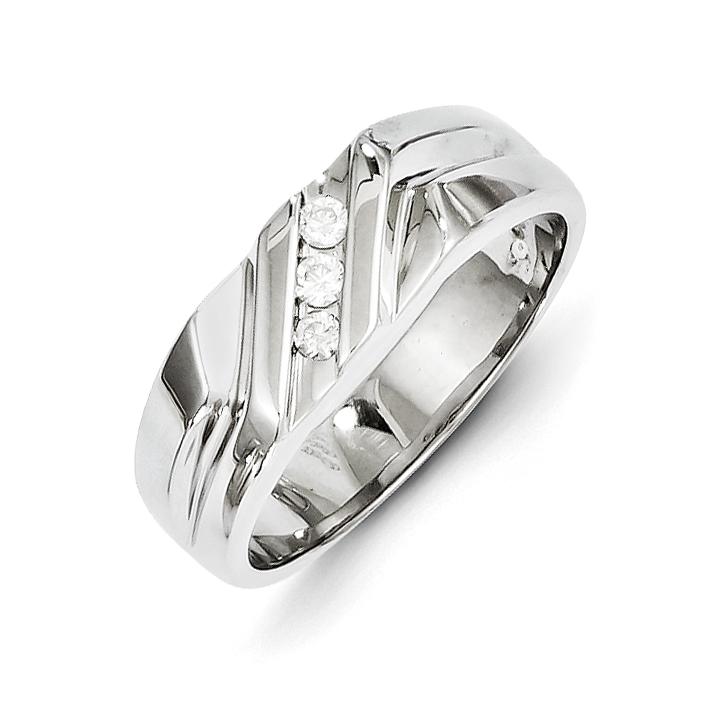 14k White Gold Diamond Men's Ring