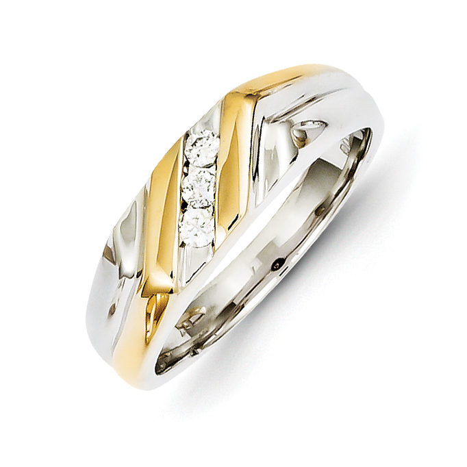 14k Two-tone Gold Diamond Mens Ring