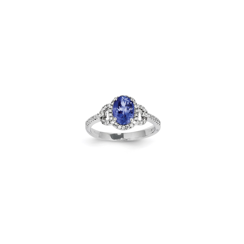 14K White gold Oval Tanzanite Diamond Gemstone Ring. Wt- 0.27ct. Gem Wt- 1.47ct