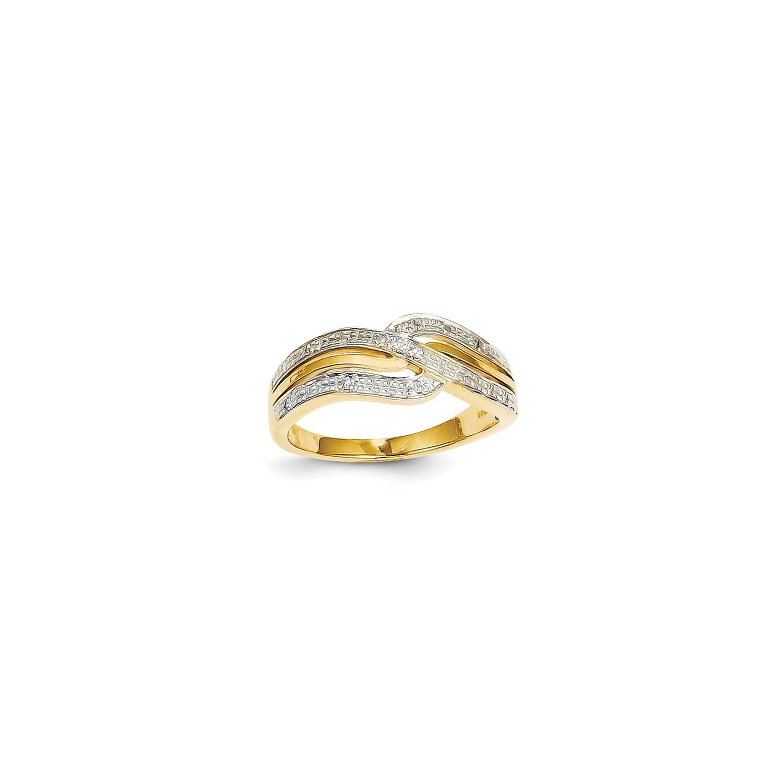 14k-Yellow-Gold-amp-Rhodium-Diamond-Ring-Carat-Wt-0-05ct-Metal-Wt-3-36g