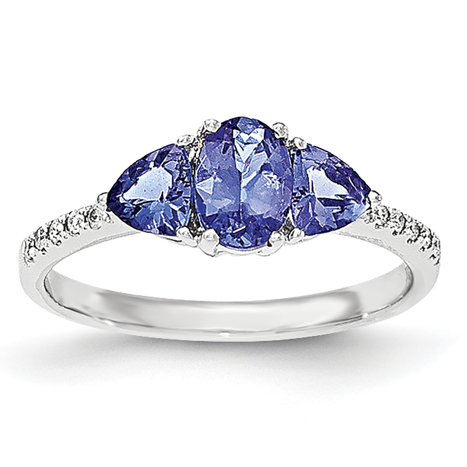 14k White Gold Oval/Trillion Tanzanite & Diamond Ring