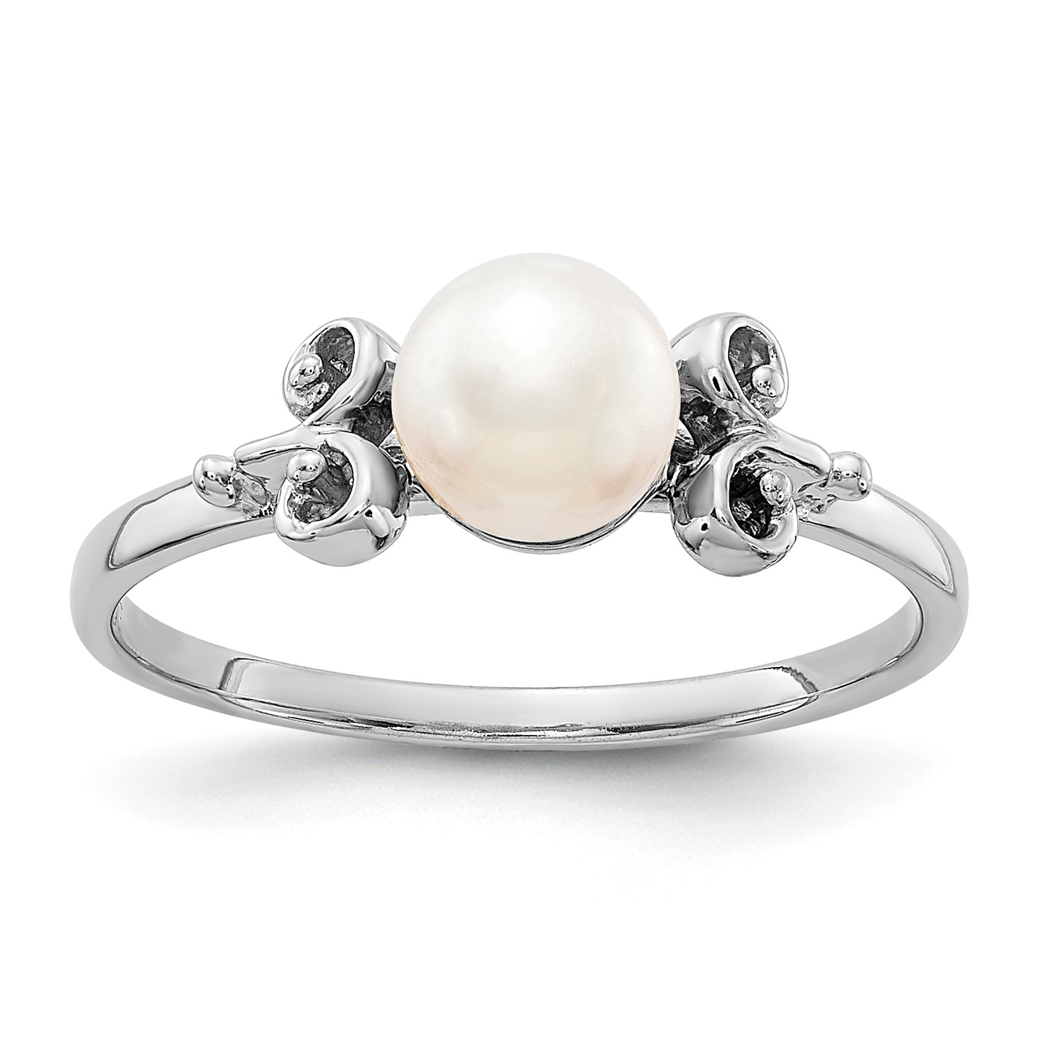 cb99f9115c849 14k White ring Pearl Cultured Freshwater 5.5mm Shiny Fancy gold ...