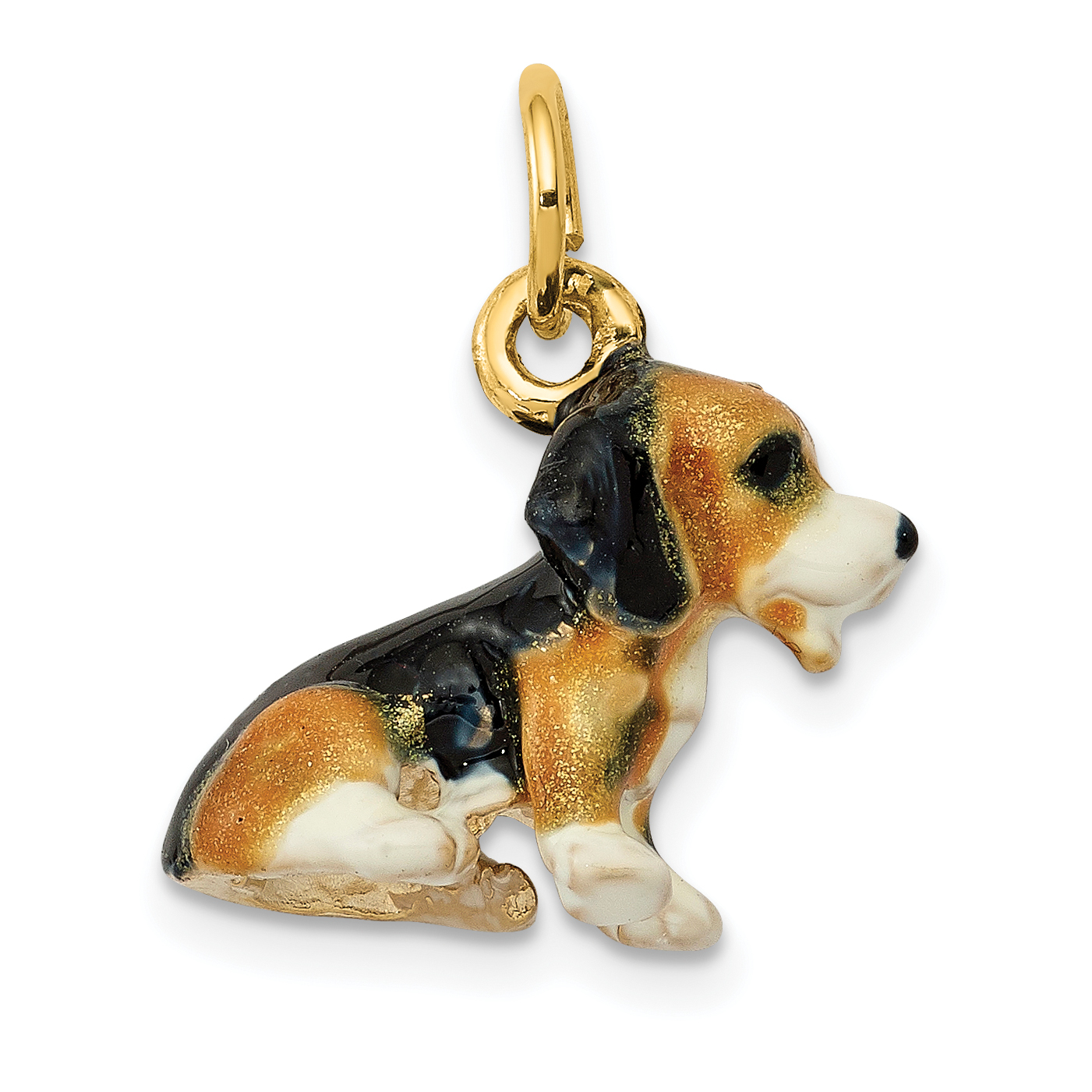 14K Enameled Small Beagle Charm