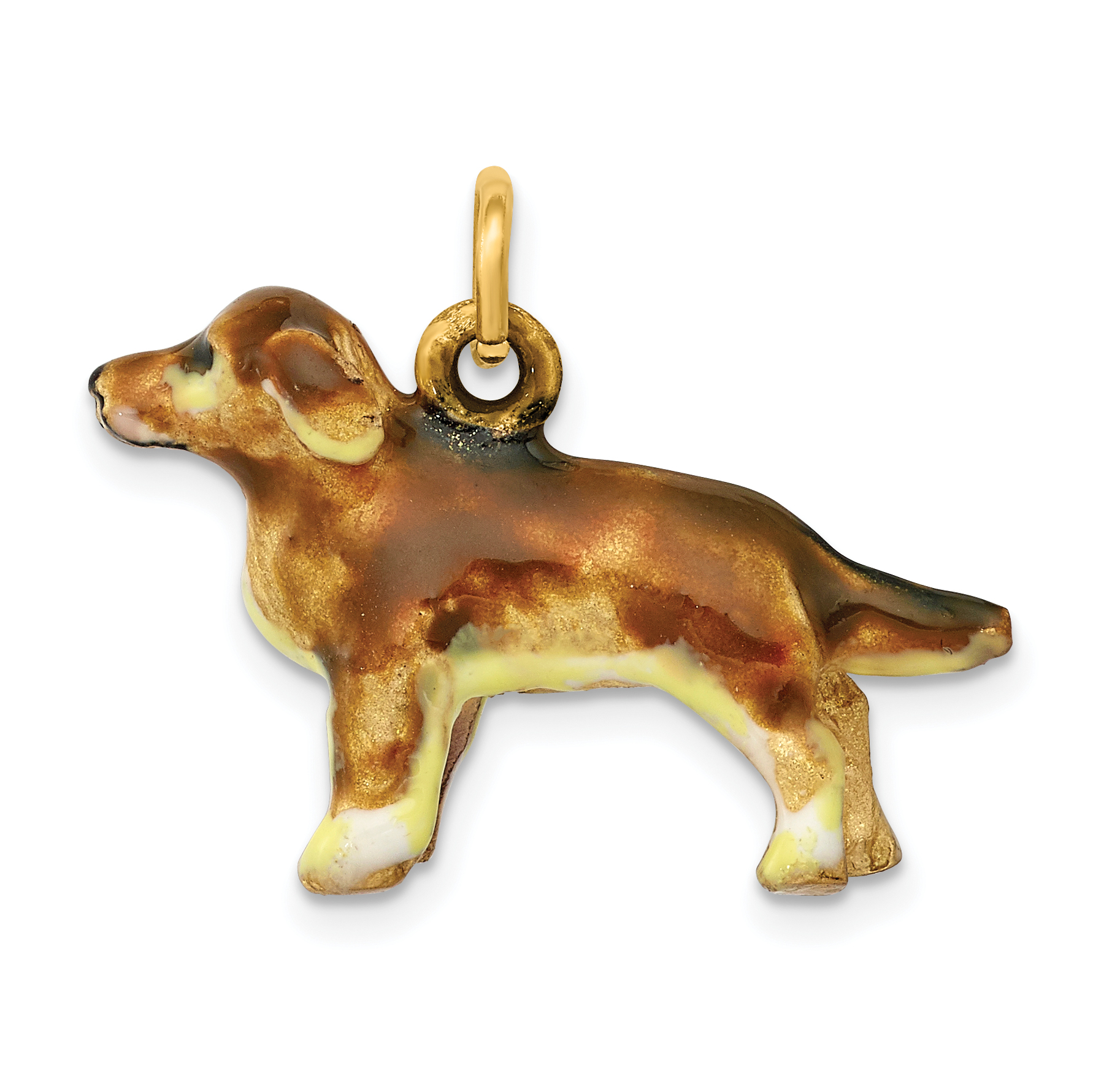 14K Enameled Small Golden Retriever Dog Charm