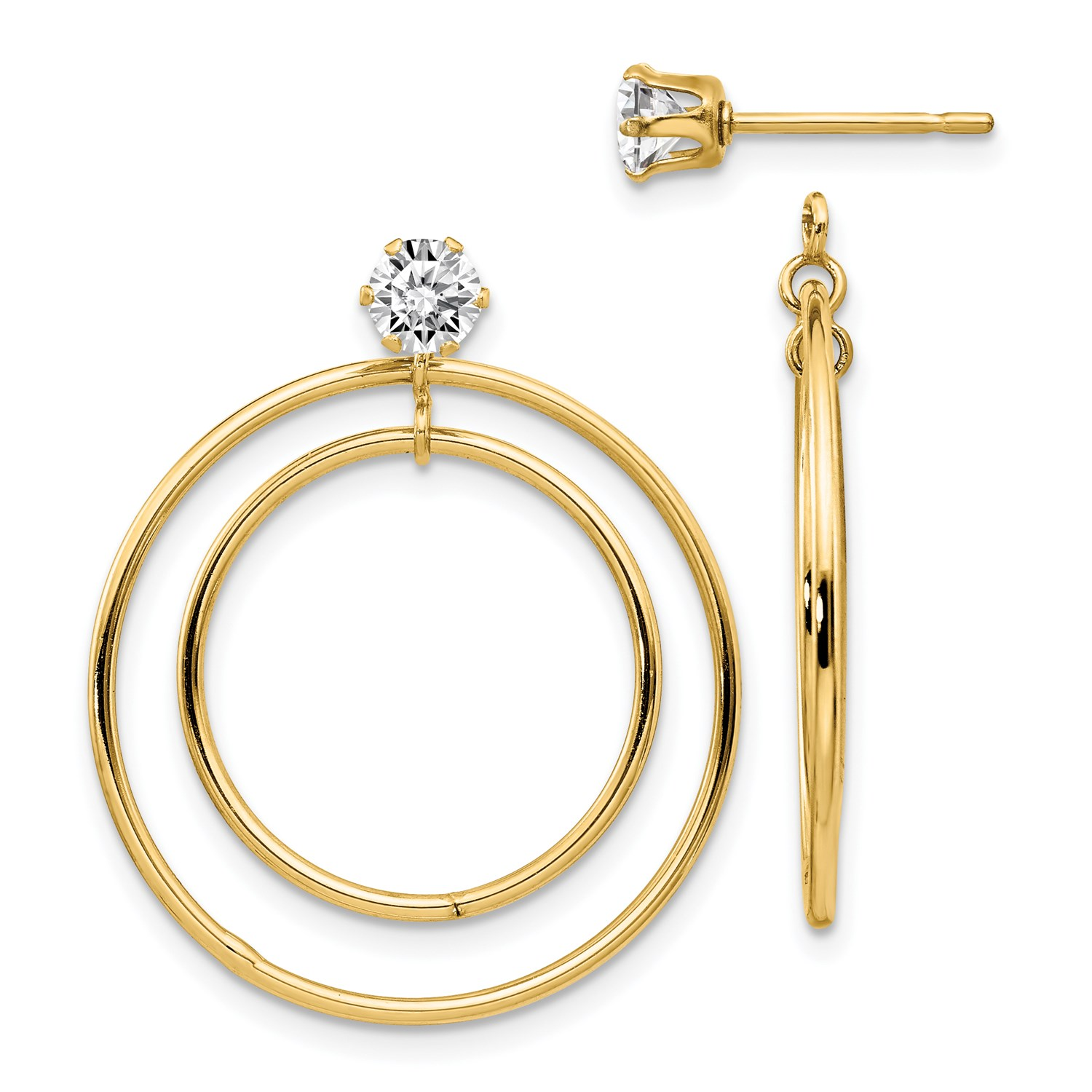 Image Is Loading 14k Yellow Gold Double Hoop With Cz Earring