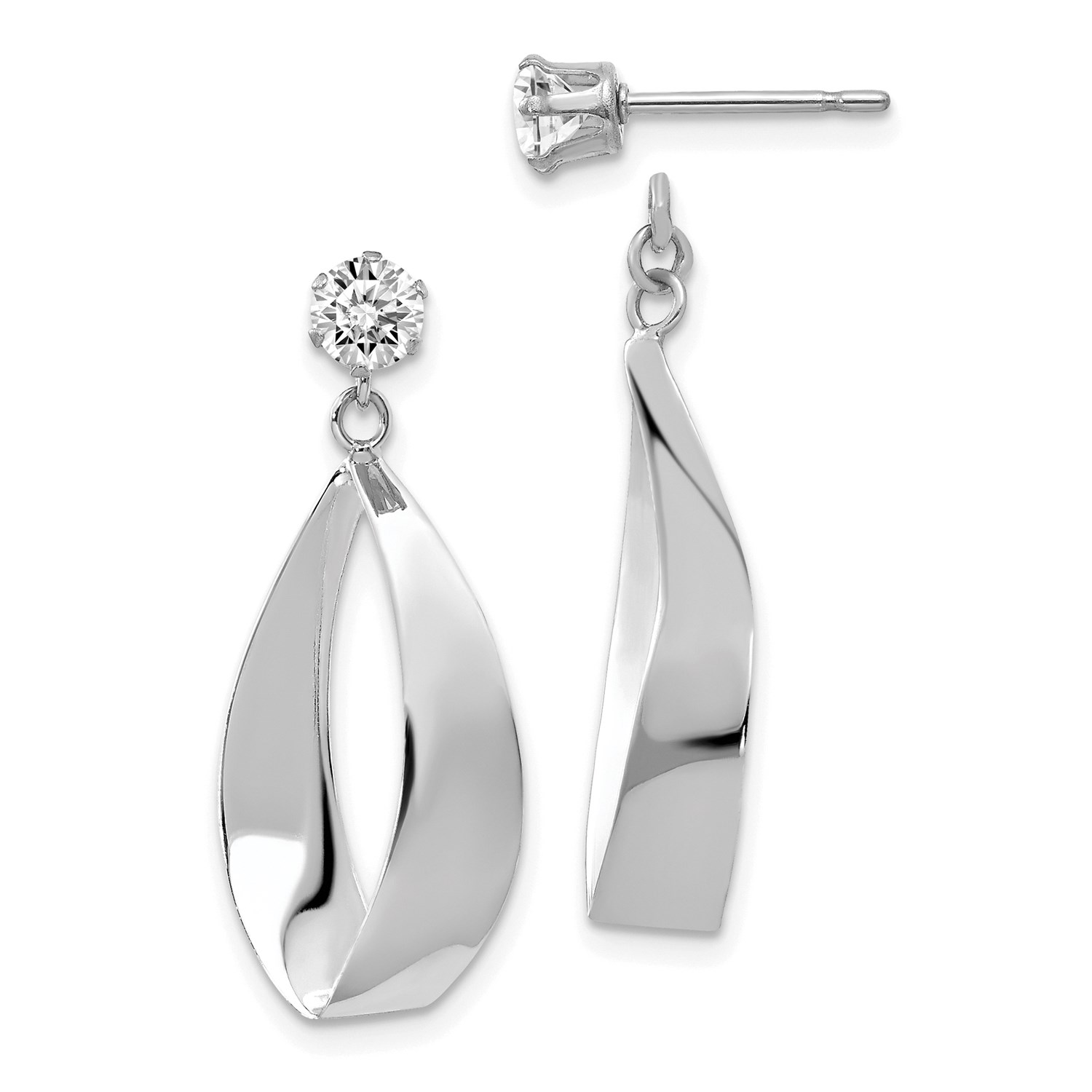 Image Is Loading 14k White Gold Polished Oval Dangle With Cz