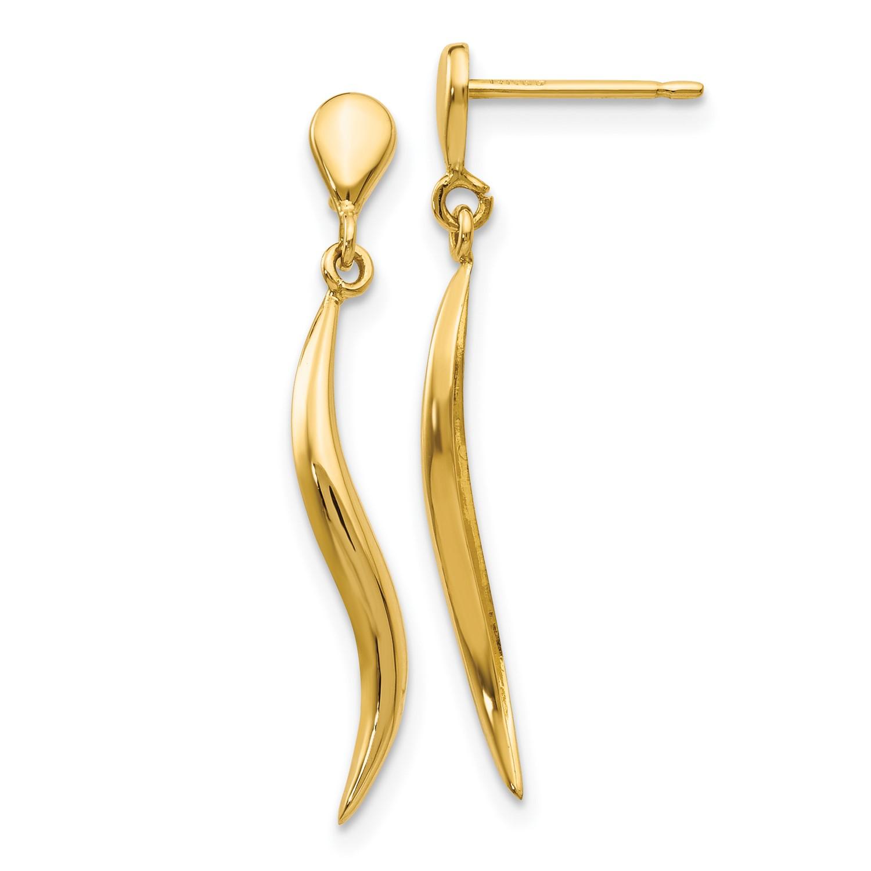 14k Yellow Gold Polished Fancy Dangle Post Earrings