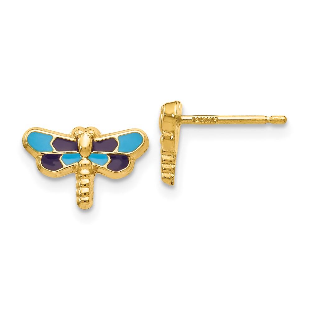 14k Yellow gold Enameled Dragonfly Earrings 0.65 grams