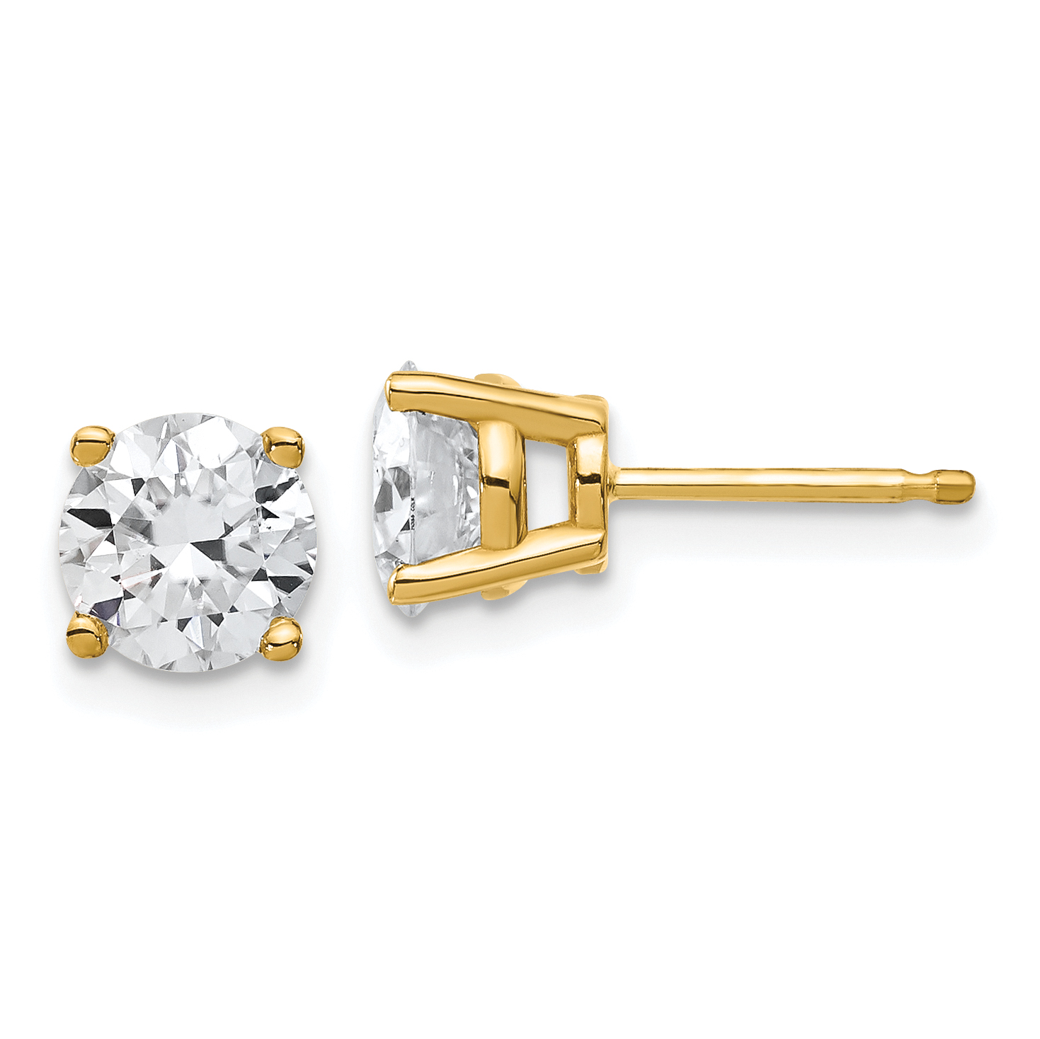 rose colvard image forever dwt one round earrings stud moissanite charles gold