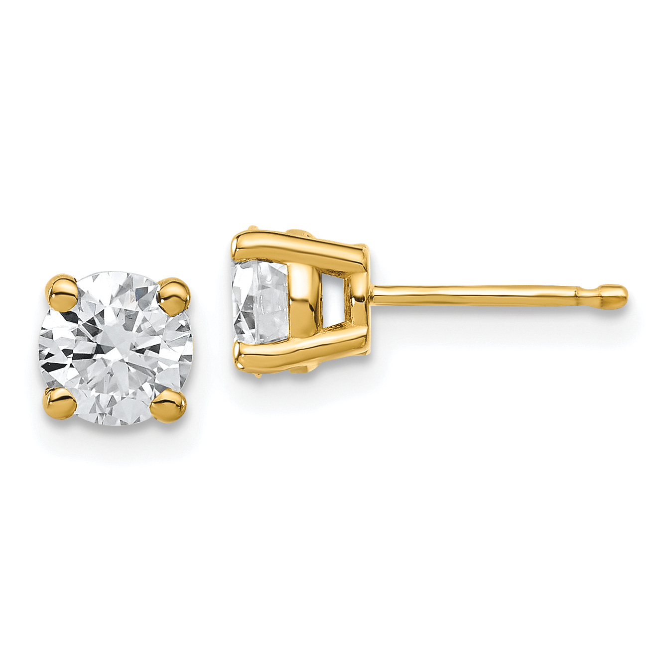 gold solitaire created carat t moissanite w pin forever earrings lab brilliant