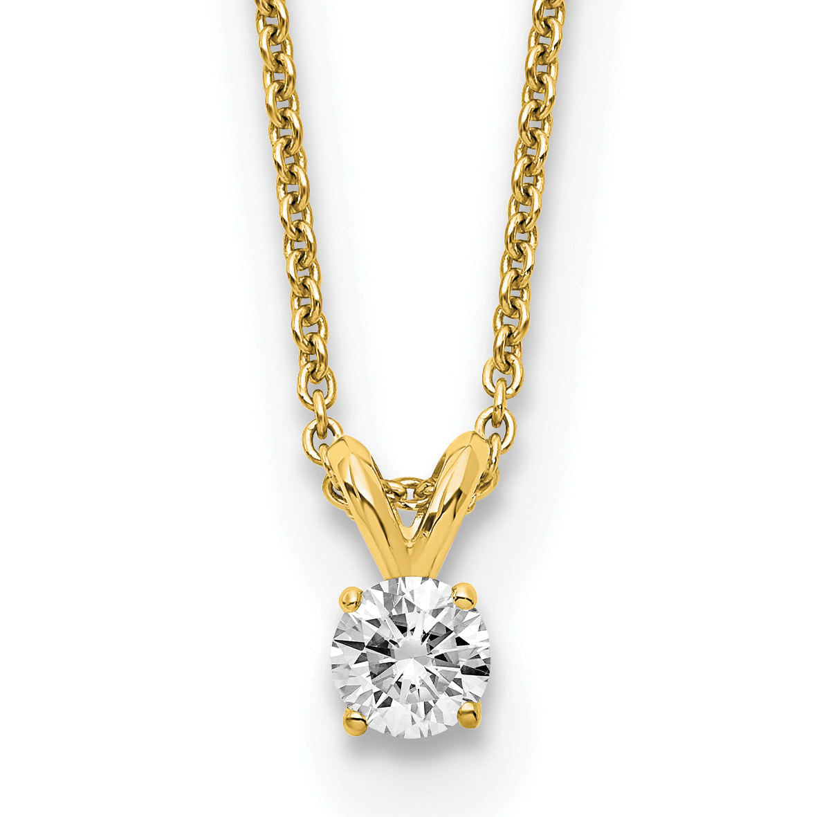 14ky 1/2ct. 5.0mm Round (J,K) Moissanite Solitaire Pendant on cable chain