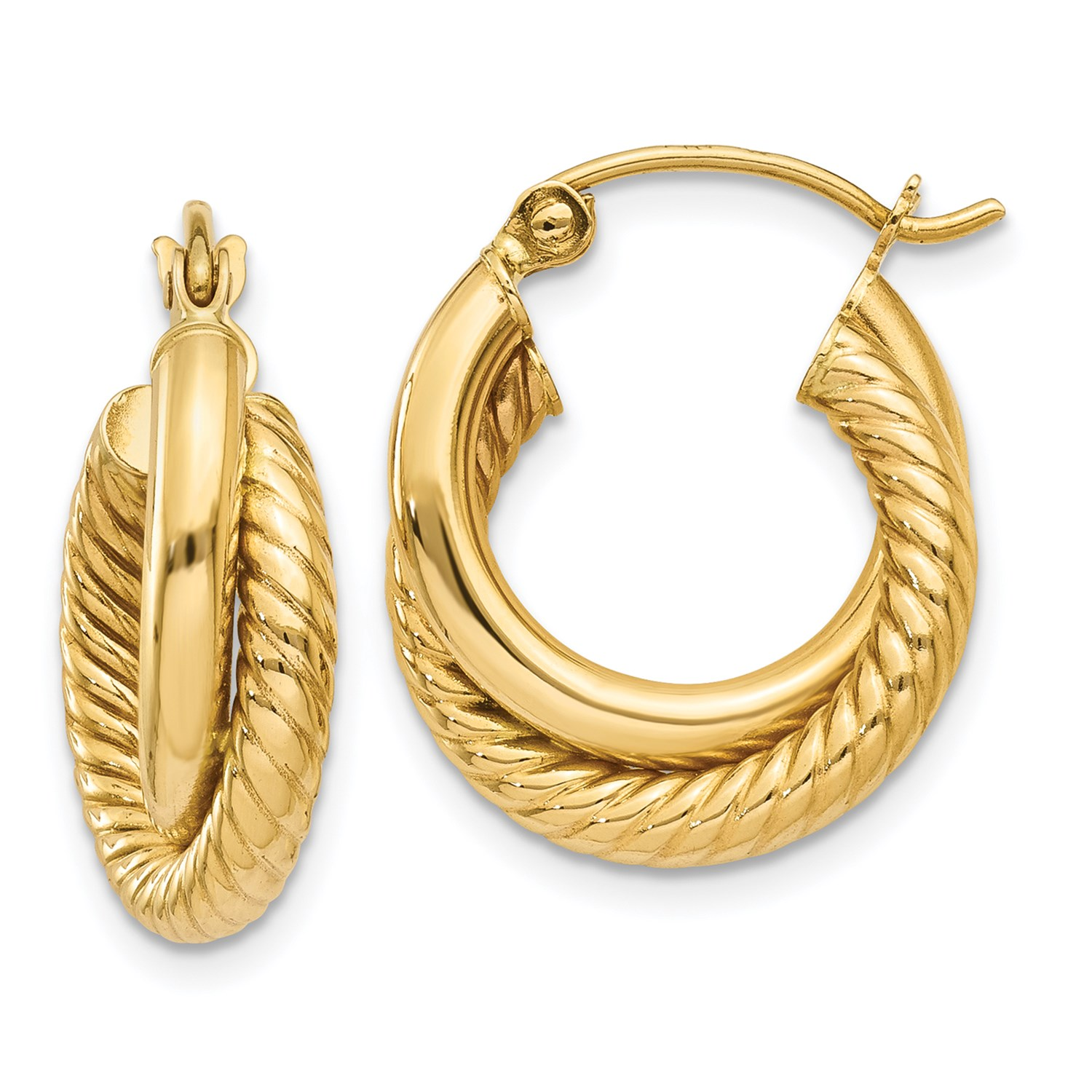14k yellow gold polished twisted double hoop earrings ebay. Black Bedroom Furniture Sets. Home Design Ideas