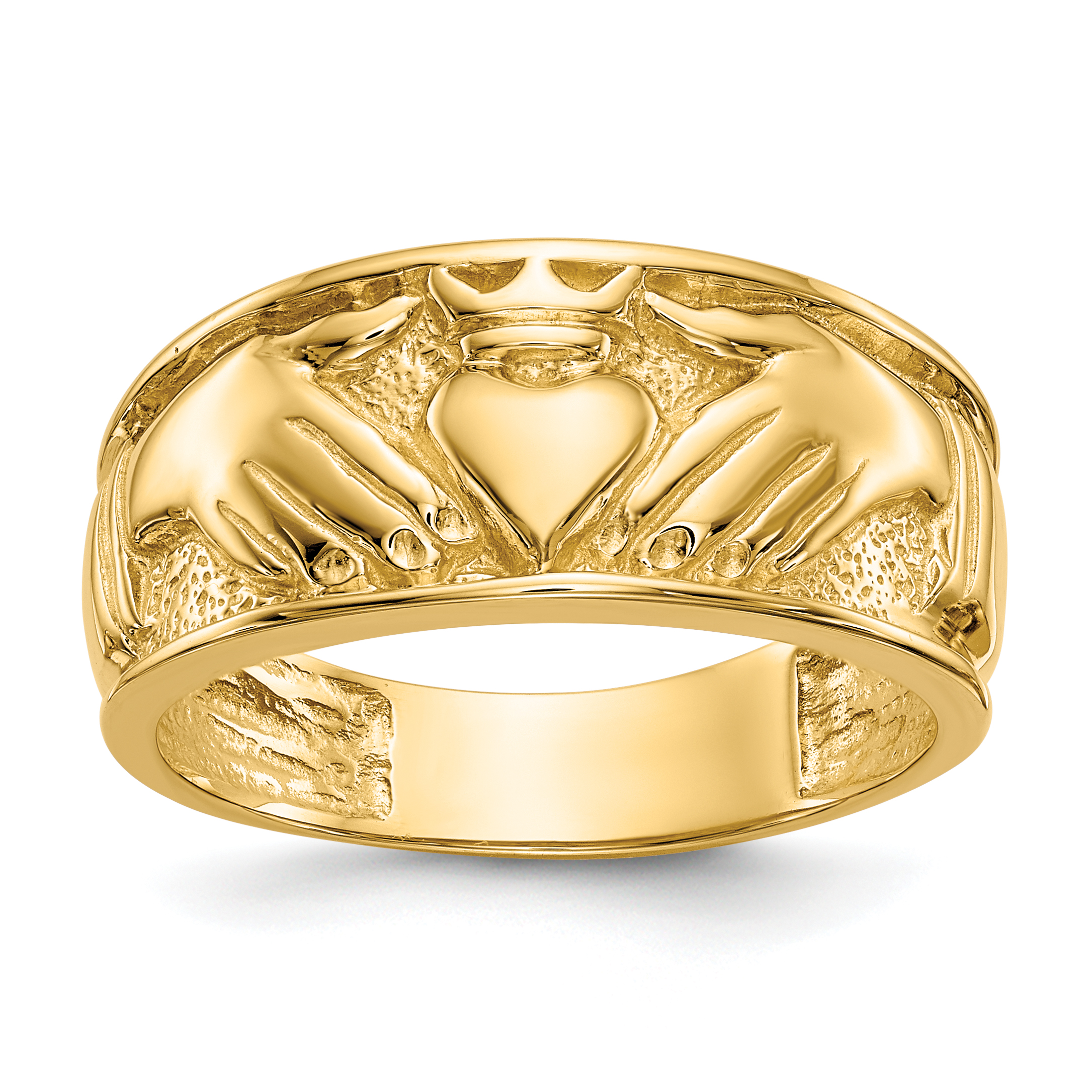 a8f6acf19a3 14K YELLOW GOLD MENS IRISH CLADDAGH CELTIC KNOT WEDDING RING BAND SIZE  10.00 MAN FINE JEWELRY GIFT FOR DAD MENS FOR HIM