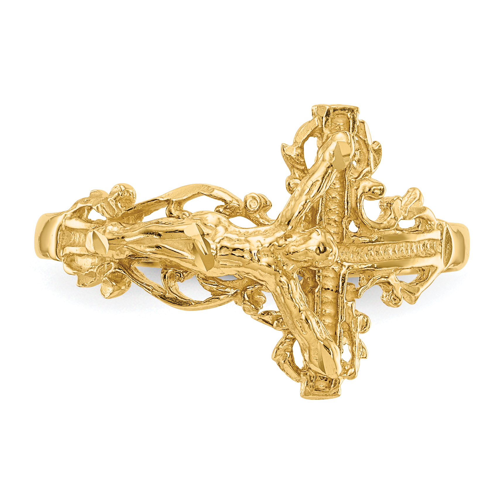 14k Yellow Gold Crucifix Cross Religious Band Ring Size 6