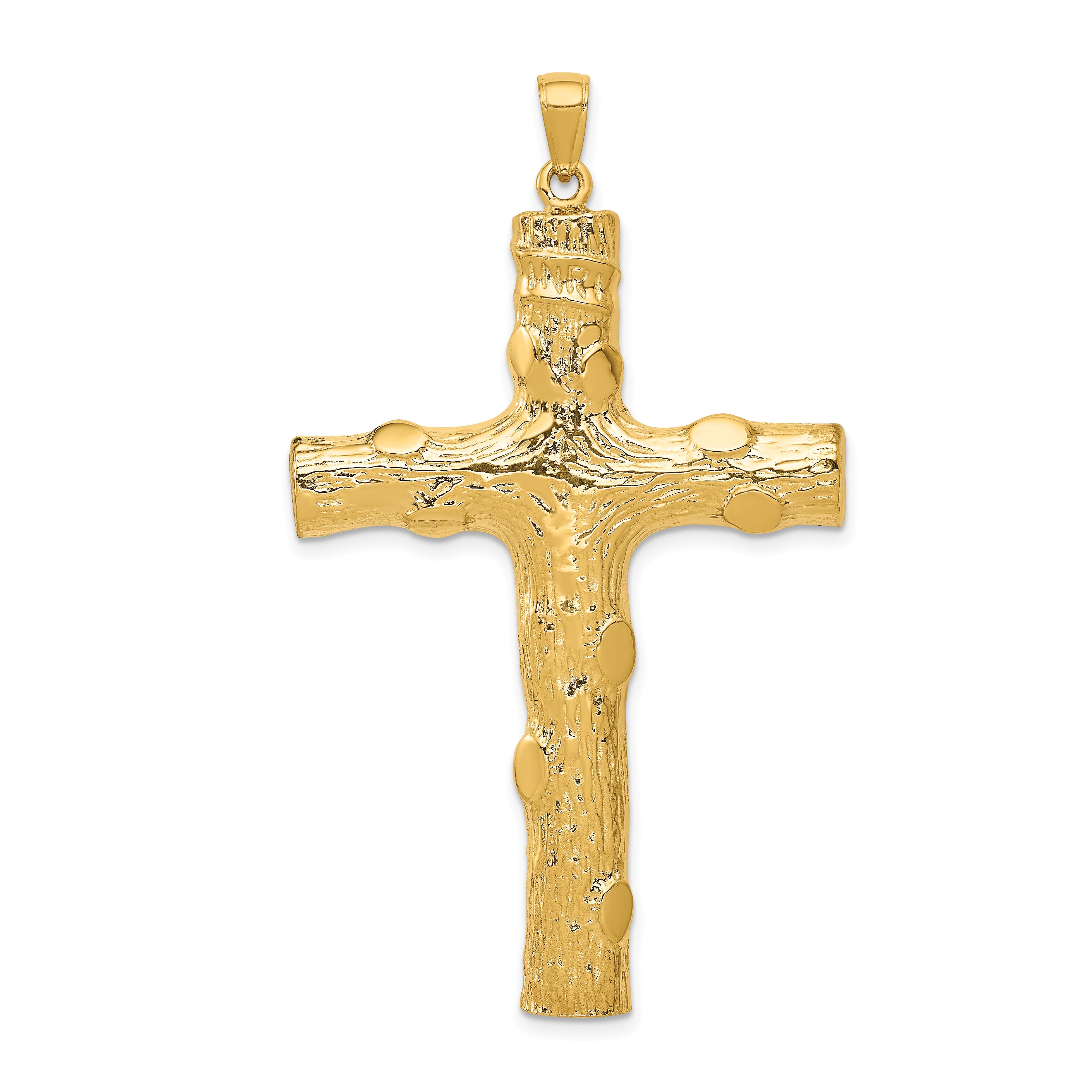 14k Yellow Gold Large Textured Cross Religious Pendant